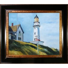 Lighthouse at Two Lights by Hopper Framed Hand Painted Oil on Canvas