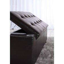 <strong>Simpli Home</strong> Laredo Large Rectangular Leather Storage Ottoman