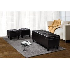 Dover Rectangular 3-Piece Leather Storage Ottoman