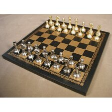 <strong>Ital Fama</strong> Small Staunton on Leather Chess Board