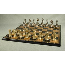 <strong>Ital Fama</strong> Staunton Metal on Leather Chess Board
