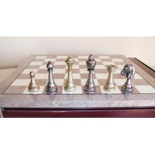 <strong>Ital Fama</strong> Staunton Metal on Grey Wood Chess Board