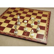Large Metal Staunton on Leather Chess Board