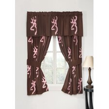 Pink Buckmark Lined Rod Pocket Drape Panel (Set of 2)