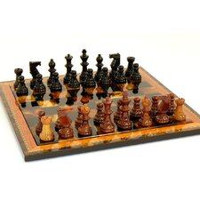 <strong>Scali</strong> Alabaster Wood Frame Chess Set in Black / Brown