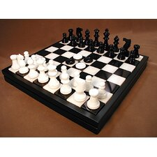 <strong>Scali</strong> Alabaster Chest Chess Set in Black / White