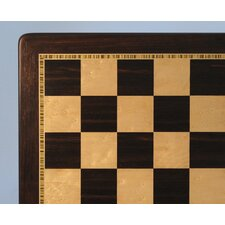 "21"" Ebony and Chess Boardseye Maple Chess Board"