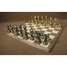 <strong>WorldWise Chess</strong> Large Metal Staunton on Grey Briar Chess Board