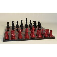 Lacquer Classic Chess Set in Black / Red