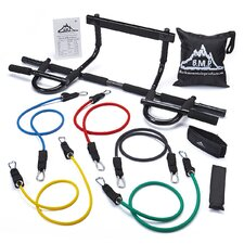 <strong>Black Mountain Products</strong> Heavy Duty Chin Pull Up Bar and Resistance Bands