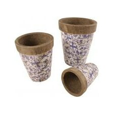 Aged Ceramic Round Flower Pot (Set of 3)