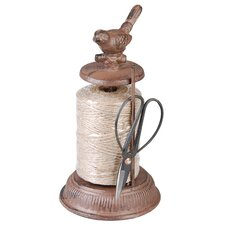 String Dispenser in Antique Brown with Scissors