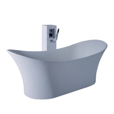 "True Solid Surface Cloud 68.88"" x 29.5"" Soaking Bathtub"