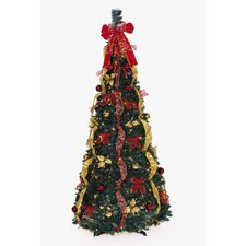 Pop Up 6' Green Artificial Christmas Tree with 350 Clear Lights
