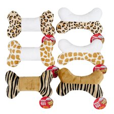 Animal Print Plush Squeaky Dog Toy (Set of 6)