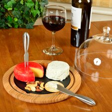 Provence Glass Dome Bamboo and Slate Cheese Set