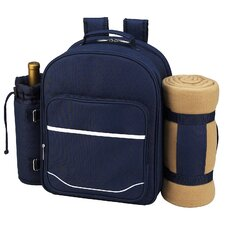 Trellis Picnic Backpack with Blanket for Four Place Setting