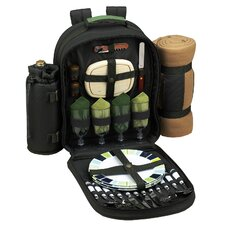 Eco Picnic Backpack with Blanket and Four Place Settings