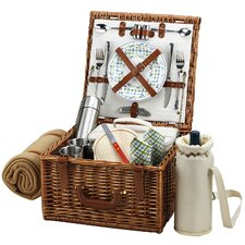 Cheshire Basket for Two with Coffee Set and Blanket in Gazebo