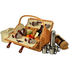 Yorkshire Picnic Basket with Blanket and Coffee Flask for Four