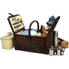Buckingham  Basket with Blanket and Coffee Flask for Four