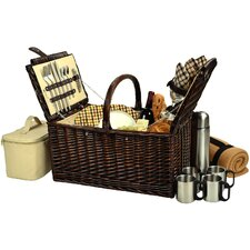 <strong>Picnic At Ascot</strong> Buckingham  Basket with Blanket and Coffee Flask for Four