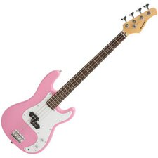 Electric Bass Guitar with Gig Bag and Cable in Pink