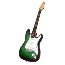 Electric Guitar with Gig Bag and Cable in Transparent Green