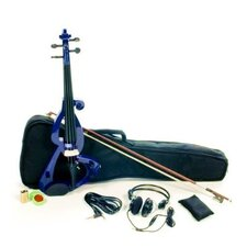 Silent Electric Violin with Bow, Headphones, Gig Bag in Blue