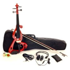Silent Electric Violin with Bow, Headphones, Gig Bag in Red