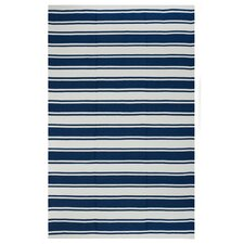 Lucky Blue/White Striped Indoor/Outdoor Rug