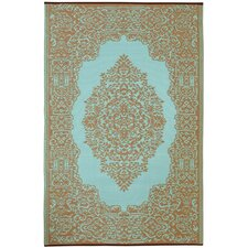 World Istanbul Fair Aqua/Warm Taupe Indoor/Outdoor Area Rug