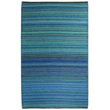 <strong>Fab Rugs</strong> World Cancun Turquoise/Moss Green Stripe Rug