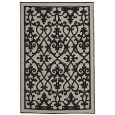 World Venice Cream/Black Indoor/Outdoor Rug