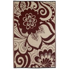 World Maui Cranberry Red/Cream Indoor/Outdoor Rug