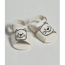 "20"" Doll Shoe Sandal Cat''s Meow in White"