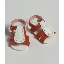 "20"" Doll Shoe Sandal Two Tone in Red / White"