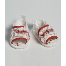 "<strong>Adora Dolls</strong> 20"" Doll Shoe Sandal Ruffle in Red / white"