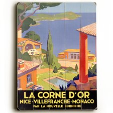 La Corne D'Or Planked Vintage Advertisement Plaque