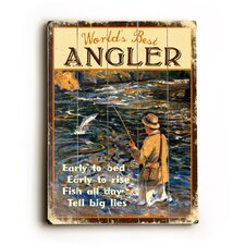 "Angler Planked Wood Sign - 20"" x 14"""