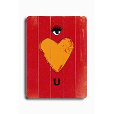 "Eye Heart U Wood Sign - 12"" x 9"""