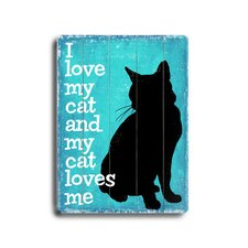 "I Love My Cat Planked Wood Sign - 20"" x 14"""