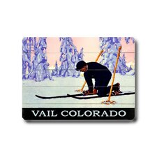 Vail Colorado Skier Wood Sign