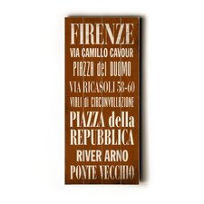 Firenze Transit Textual Art Plaque