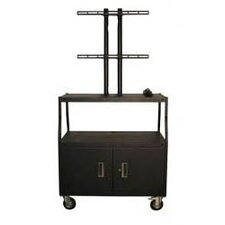Flat Panel Cart with Cabinet and 4 Outlets