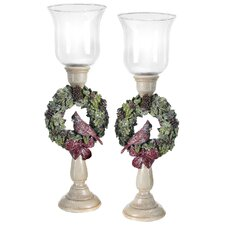 Cardinal Wreath Candle Holder
