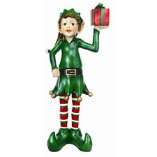 Elf with Gift Box Statue Christmas Decoration