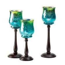 3 Piece Signature Series Metal/Glass Candlestick Set