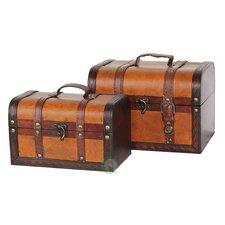 Decorative 2 Piece Leather Treasure Box Set