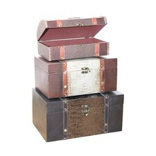 3 Piece Decorative Storage Crocodile Leather Trunk Set
